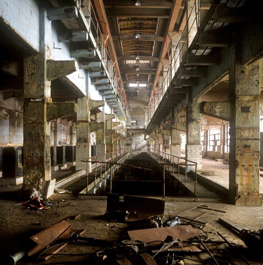 1993 brach die Arbeitsförderungsgesellschaft Zellwolle große Teile des Werkes weitgehend ab. Foto: Christian Bedeschinski, Berlin